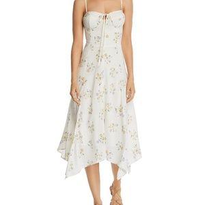 WAYF Hampshire Floral White Sweetheart Midi Dress